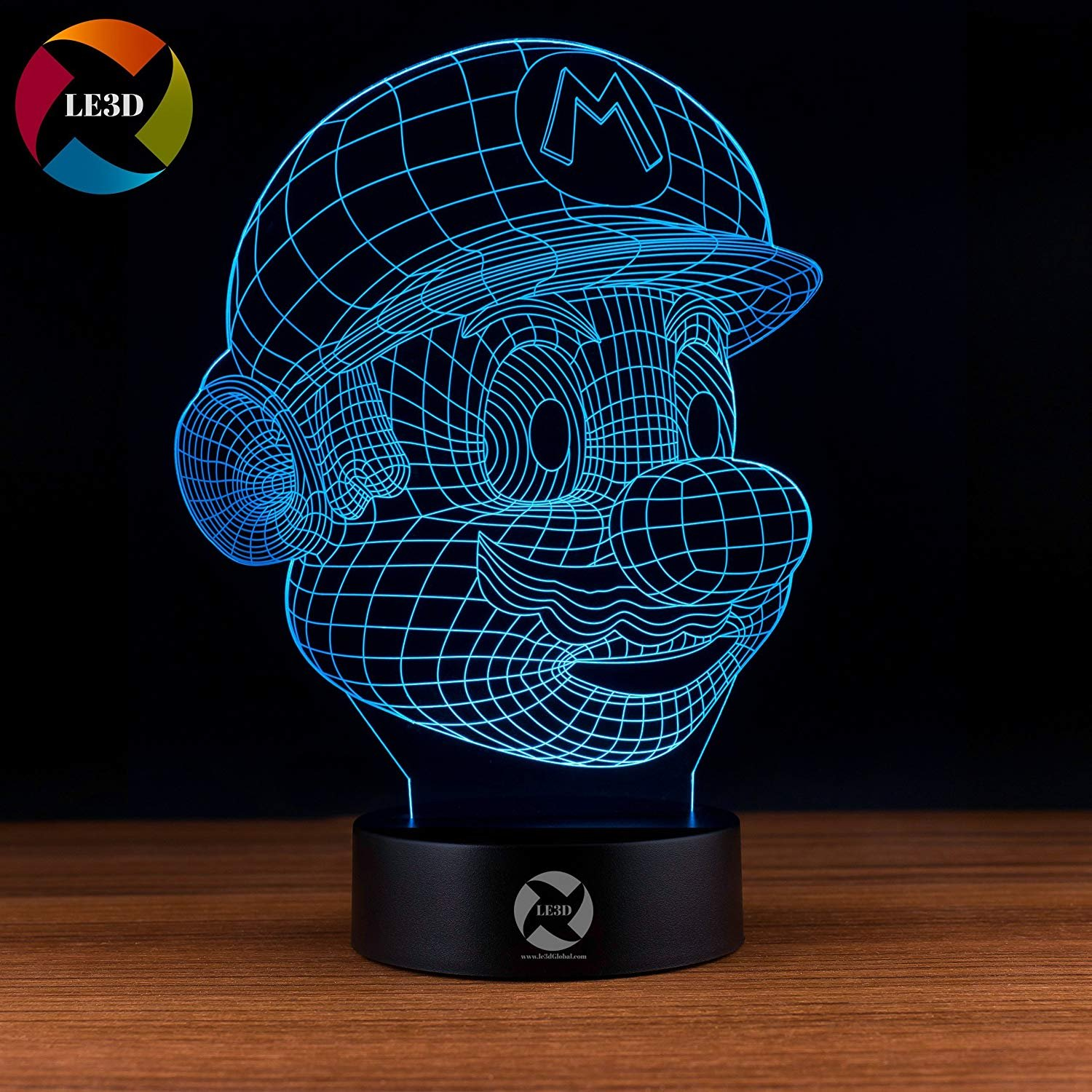 3D Optical Illusion Night Light - 7 LED Color Changing Lamp - Cool Soft Light Safe for Kids - Solution for Nightmares - Super Mario