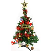 Wideskall 2 Feet Tabletop Artificial Mini Christmas Pine Tree with LED Lights & Ornaments