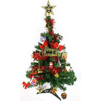 Wideskall 2 Feet Tabletop Artificial Mini Christmas Pine Tree With Led Lights Ornaments Green Tree Multi Color Light