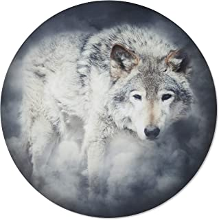 product image for Metal Wall Art - Round Wolf Hanging Wall Decor - Handmade in the USA for Use Indoors or Outdoors