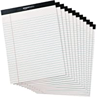 AmazonBasics Legal/Wide Ruled Pad (12 pack, 50 sheets per pad) 222 GSM, 8.5 inches X 11.75 inches - White
