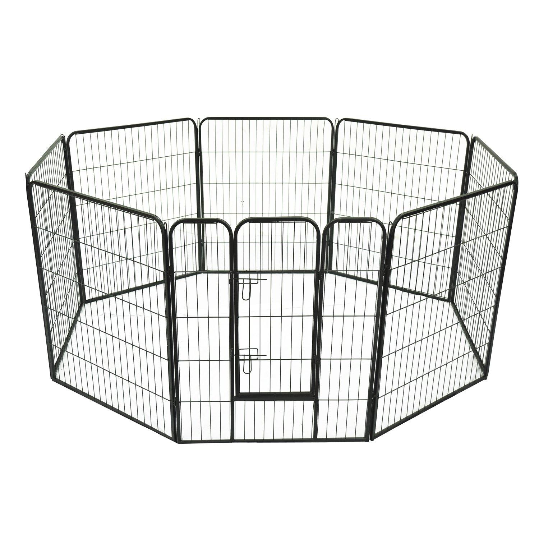 Luxe parc enclos modulable acier 8 panneaux et 1 porte pour chiens 80L x 100H cm noir neuf 04 Pawhut 5663-1304