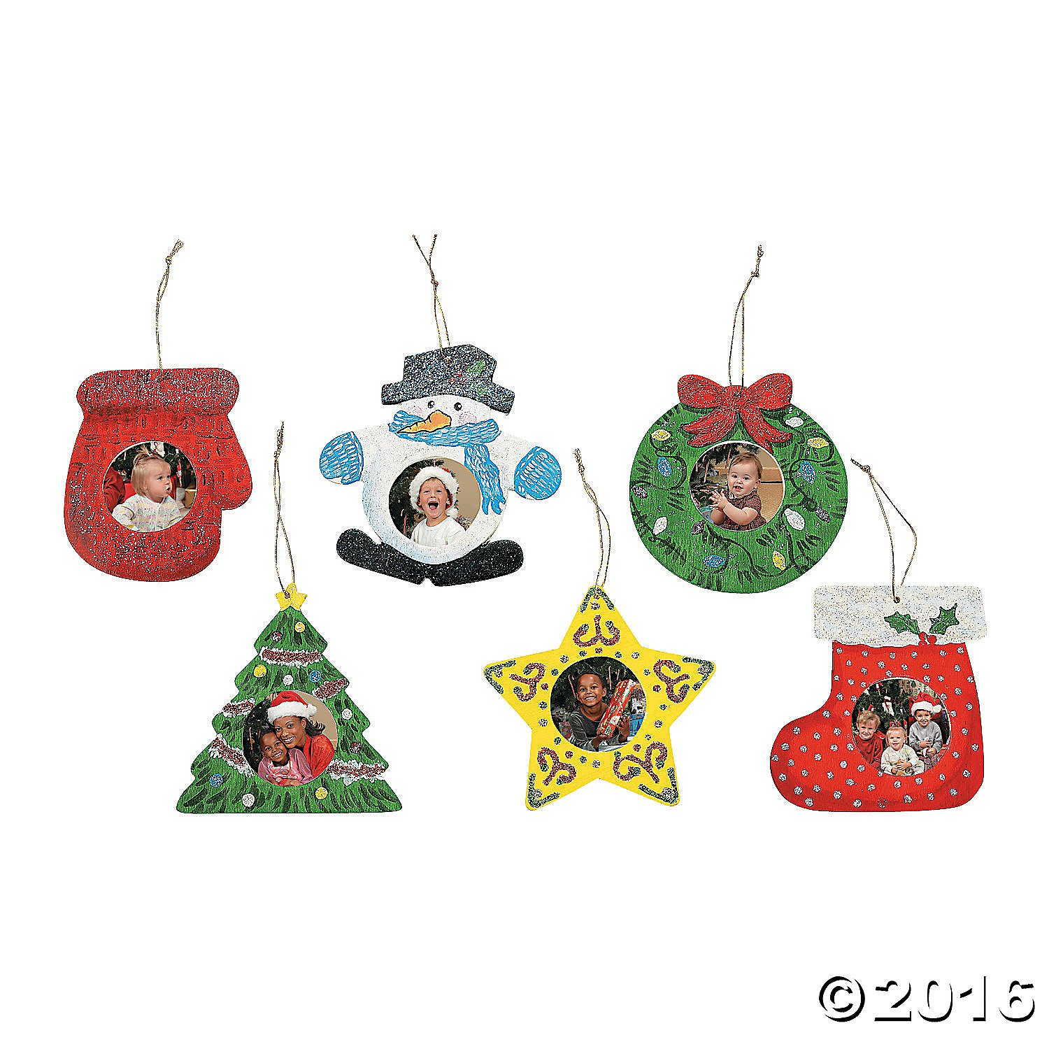 Personalized ornaments for kids - Unfinished Wooden Christmas Tree Ornaments With A Personalized Photo In The Middle