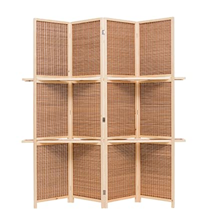 Display Shelves For Collectibles >> Amazon Com Thy Collectibles Freestanding Wood Frame Woven Bamboo 4