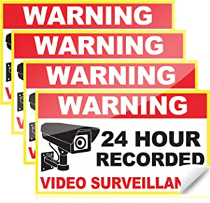 Waterproof Video Surveillance Sticker (6 x 3.5 Inches) for Your Home Security Camera System (4 Pack)