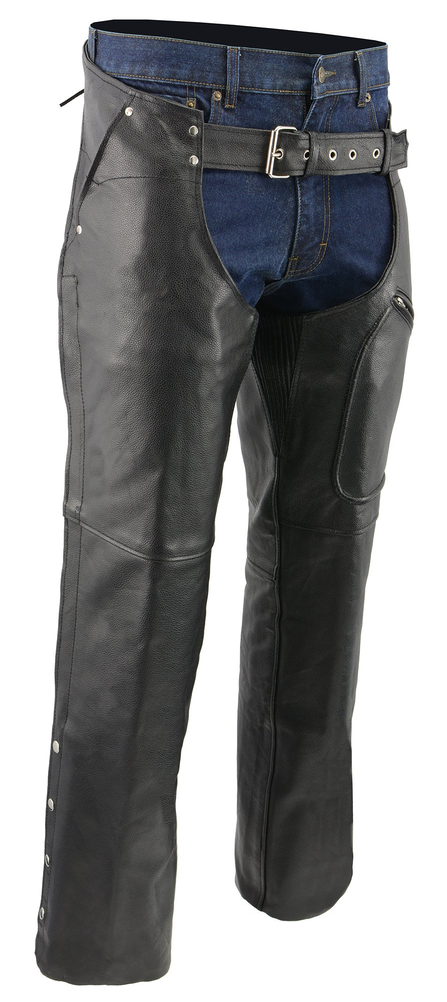 M-BOSS MOTORCYCLE APPAREL-BOS15509-BLACK-Men's zip-out insulated pant style zipper pocket leather chaps.-BLACK-3X-LARGE