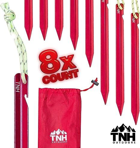 TNH Outdoors 8X Aluminum Tri-Beam Mini Tent Stakes and Bag - Made ...