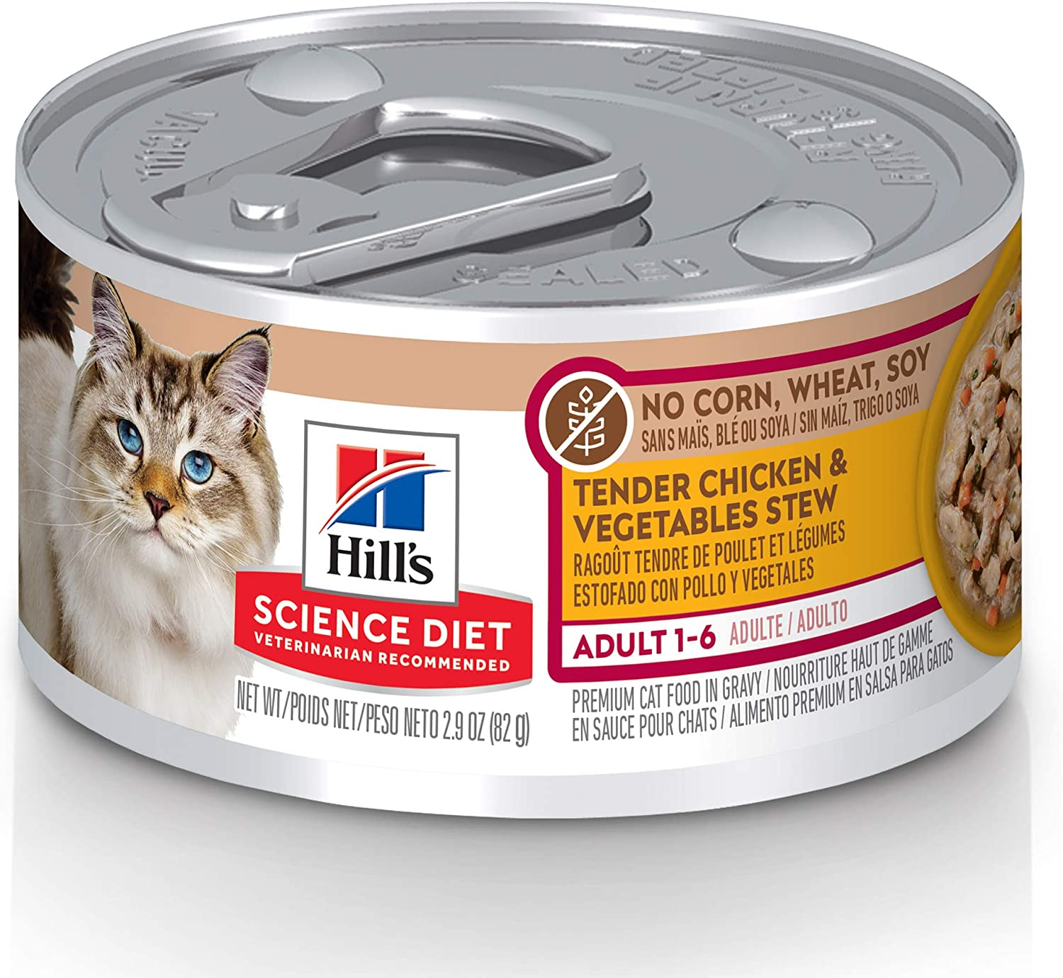 Hill's Science Diet Canned Wet Cat Food, Adult, No Corn, Wheat or Soy Recipes, 2.9 oz Can, Pack of 24