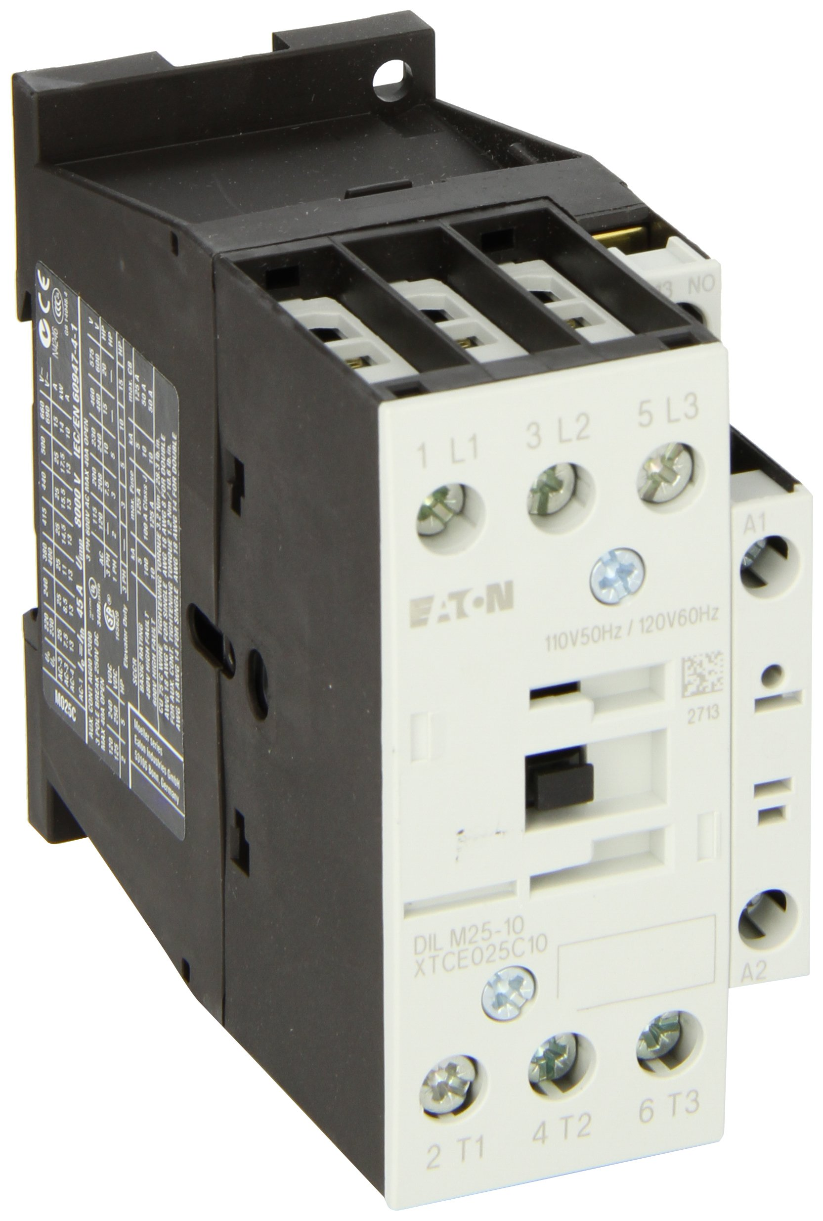 Eaton XTCE025C10A XT-IEC Contactor and Starter, 45mm, 25A AC-3 Current Rating, 7-1/2 Max HP at 230VAC, 15 Max HP at 460VAC, 20 Max HP at 575VAC, 120VAC Coil Voltage