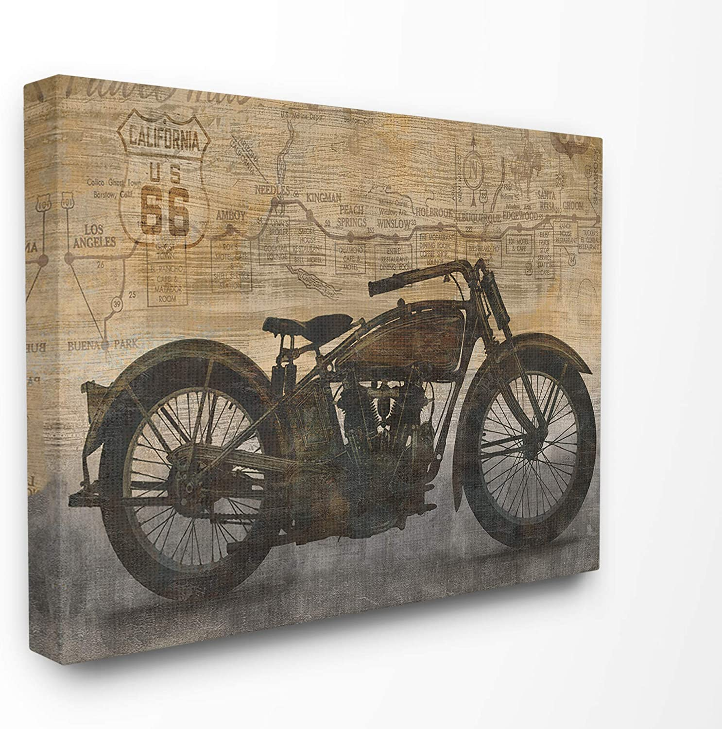 The Stupell Home Décor Collection Tan and Black Sepia Motorcycle with Faded Road Map Texture Stretched Canvas Wall Art, 24 x 30, Multi-Color