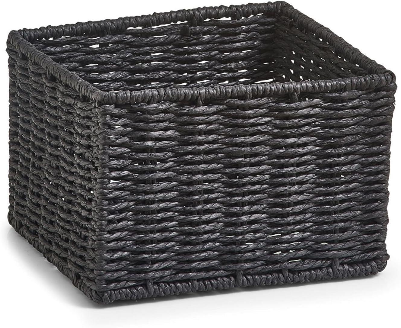 Zeller 18098 Aufbewahrungsk/örbchen 16 x 16 x 11 cm Papiergeflecht 2-er Set grau