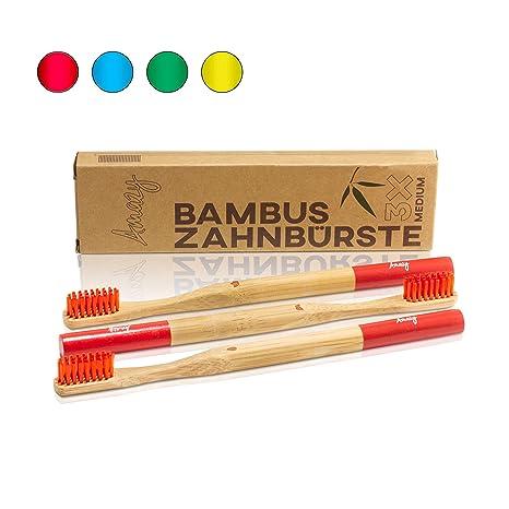 Amazy cepillo de dientes de bambú (3 unids. | rojo) – Cepillo de
