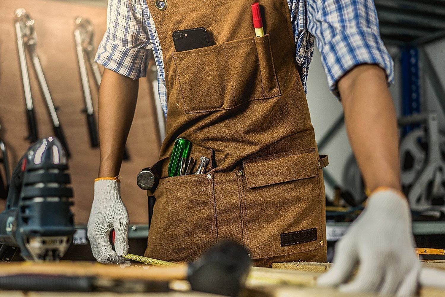 Luxury Waxed Canvas Shop Apron | Heavy Duty Work Apron for Men & Women with Pocket & Cross-Back Straps | Adjustable Tool Apron Up To XXL | Long, Thick, Water Resistant Workshop Apron in Gift Box by GIDABRAND (Image #2)