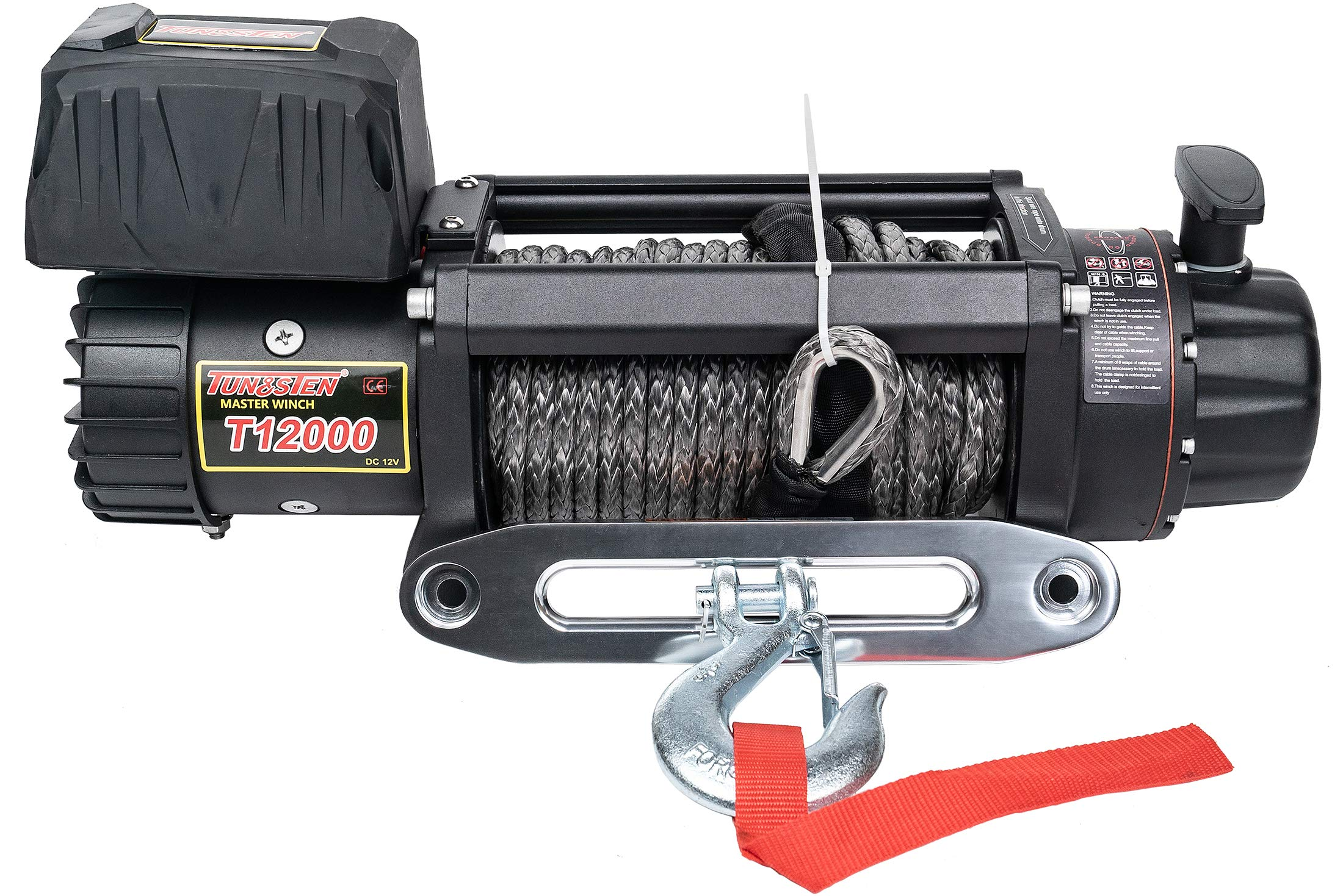 Tungsten4x4 T12000S Offroad 12000 lbs Load Capacity 12V Electric Winch with Synthetic Rope, Hawse Fairlead and Wireless Remote