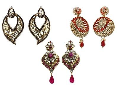 Buy My Design Elegant Gold Plated Bridal Combo Wedding Earrings Set