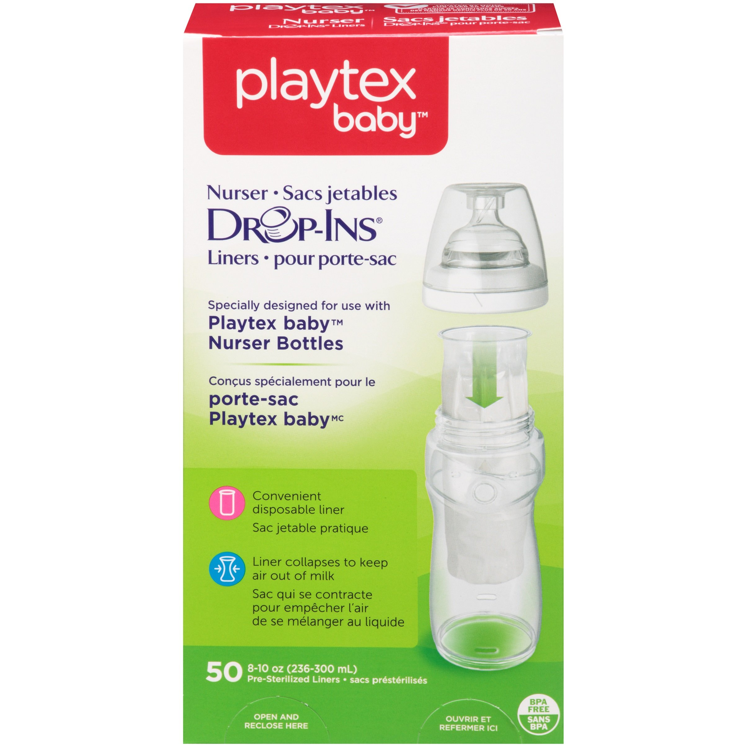 Playtex Baby Nurser Drop-Ins Baby Bottle Disposable Liners, Closer to Breastfeeding, 8 Ounce - 50 Count