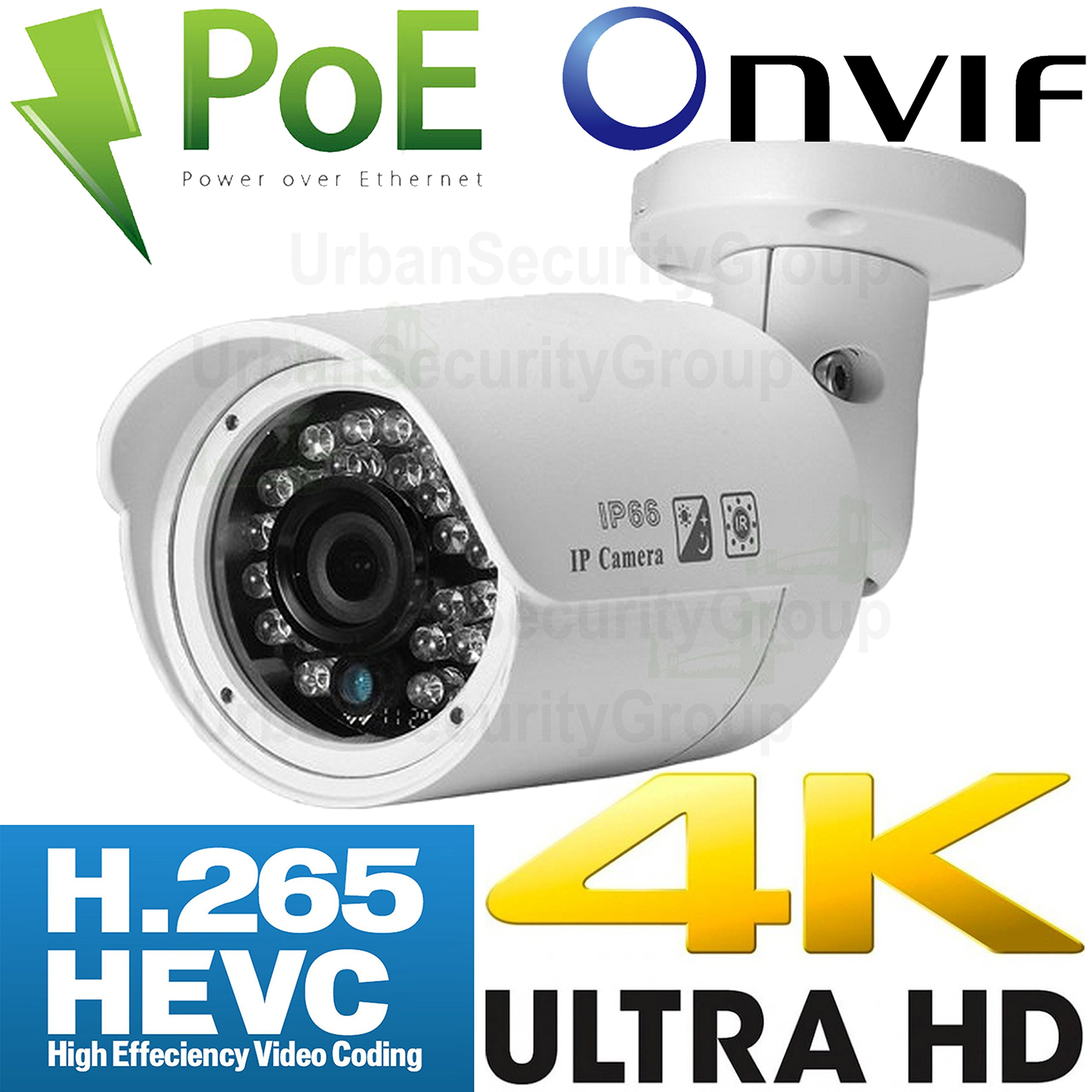 USG 4MP 2592x1520 3.6mm Wide Angle 5MP HD LENS H.265 IP Bullet Security Camera With Audio PoE, 24x IR LEDs, Vandal & Weatherproof, ONVIF 2.4, View On Phone + Computer + NVR Business Grade CCTV