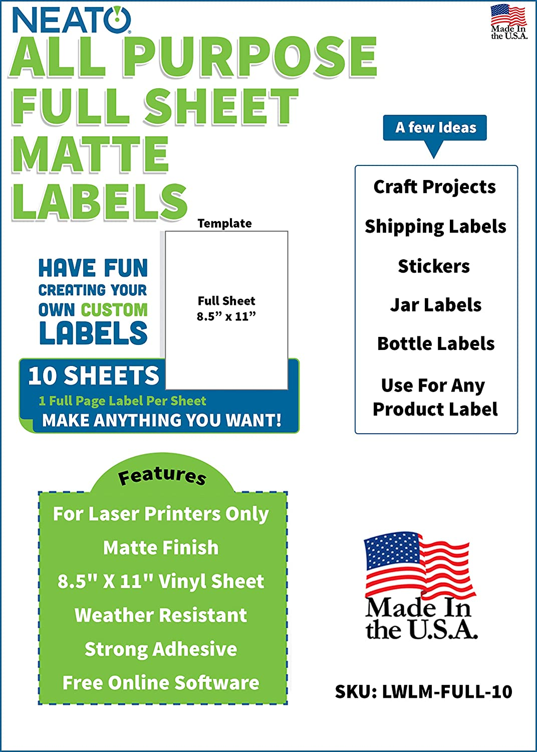 graphic regarding Printable Vinyl Laser Printer referred to as Neato Blank White Comprehensive Sheet Printable Labels - for Laser Printers - Matte End - Weather conditions Resistant Vinyl Sticker Paper - On the internet Layout Label Studio