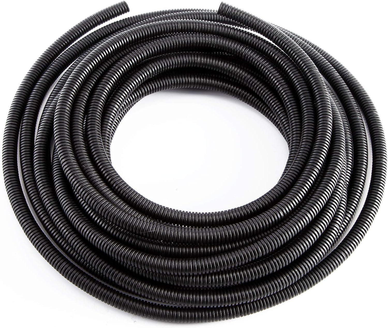 Manguera de tuber/ía para cableado el/éctrico negro 5 m, 10 m Hamimelon