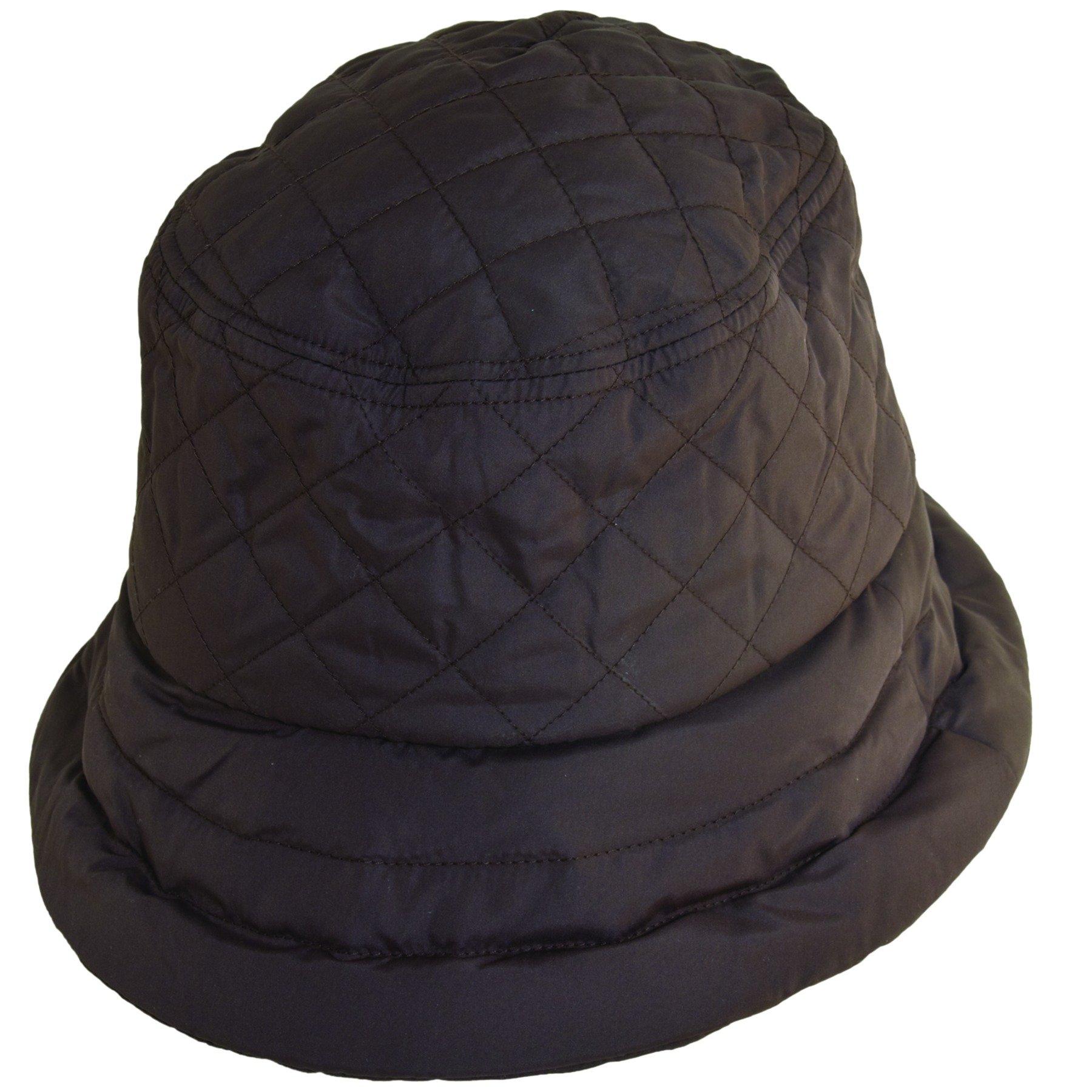 Scala Quilted Rain Bucket Hat (Chocolate)