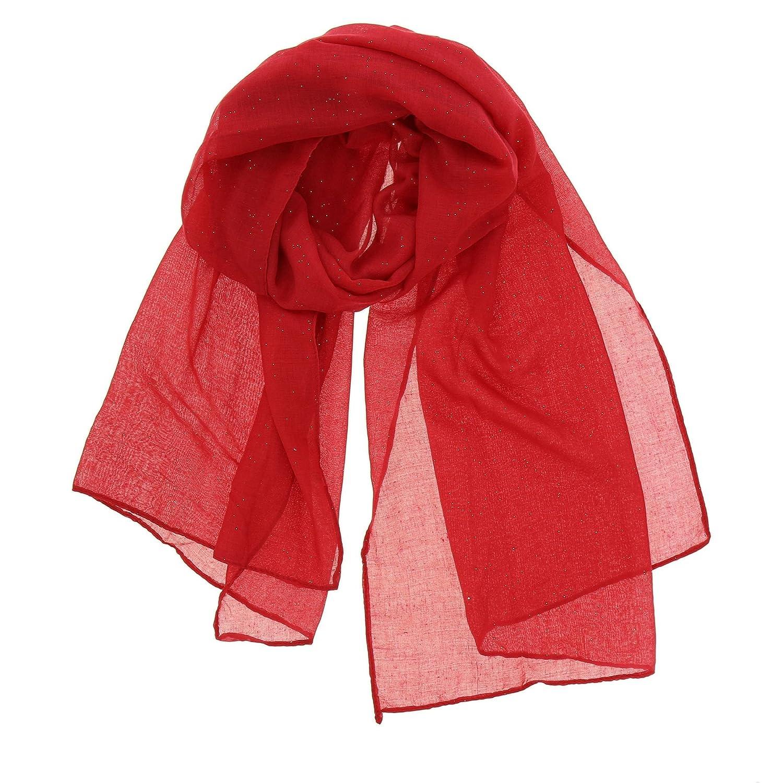 73f6d121f06b FASHIONGEN - Echarpe, Foulard femme mousseline à paillettes WIKTORIA -  Blanc  Amazon.fr  Vêtements et accessoires