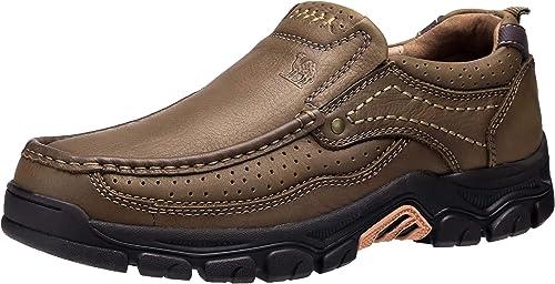 TALLA 41 EU. CAMEL CROWN Mocasines Hombre Piel Zapatos sin Cordones Cómodos Zapatos Vestir para Hombre Marrón Negro 41-47