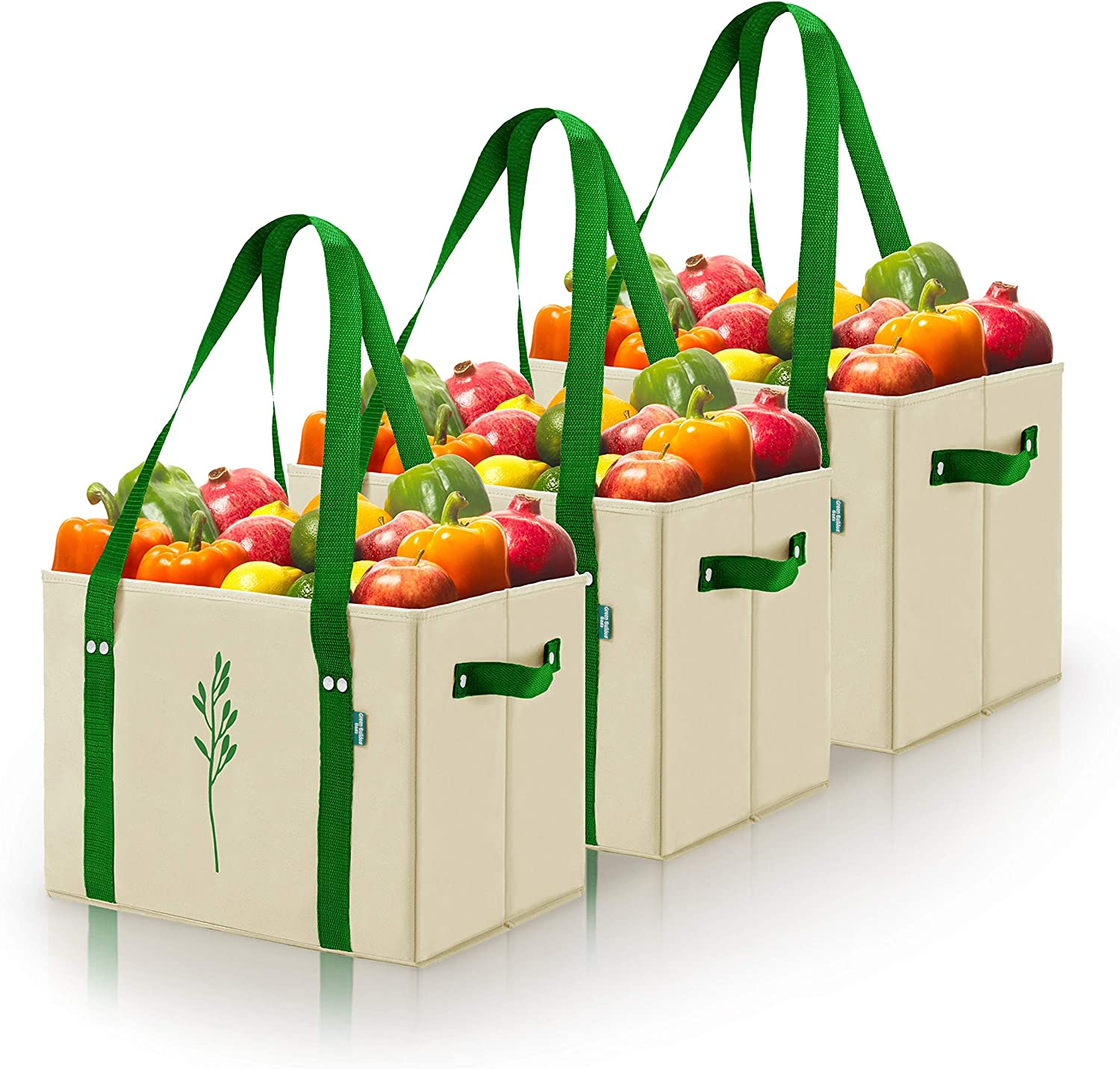Heavy Duty Reusable Grocery Bags. Spillover Proof and Collapsible Shopping Box Bags with Fold Up Reinforced Bottom. Long and Short Handles. By Green Bulldog Bags. (Large - Taupe Set of 3)