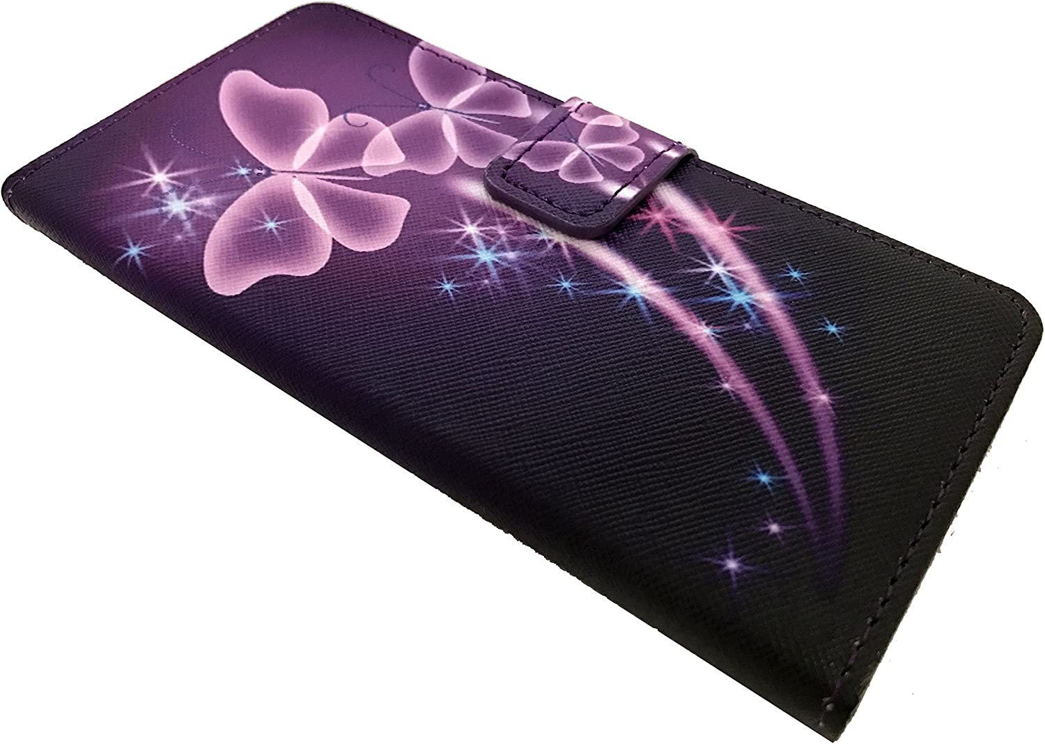 For TracFone Alcatel Pixi Unite A466BG Wallet Card Phone Cover Case + Gift Stand (Wallet Purple Butterfly)