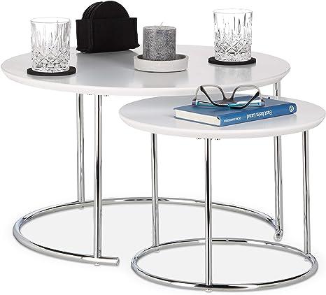 Beistelltisch Couchtisch Ablagetisch Glas Holz Silber 2Er Set
