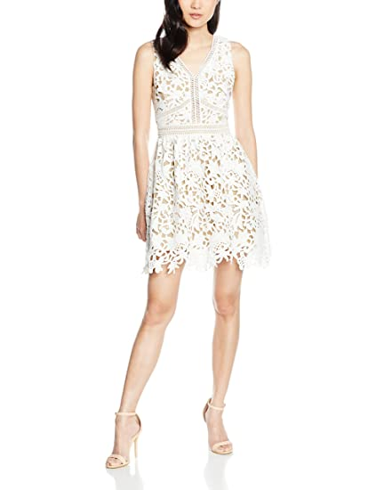 New Look Petite Women\'s Premium Lace Dress, White (White Patterned ...