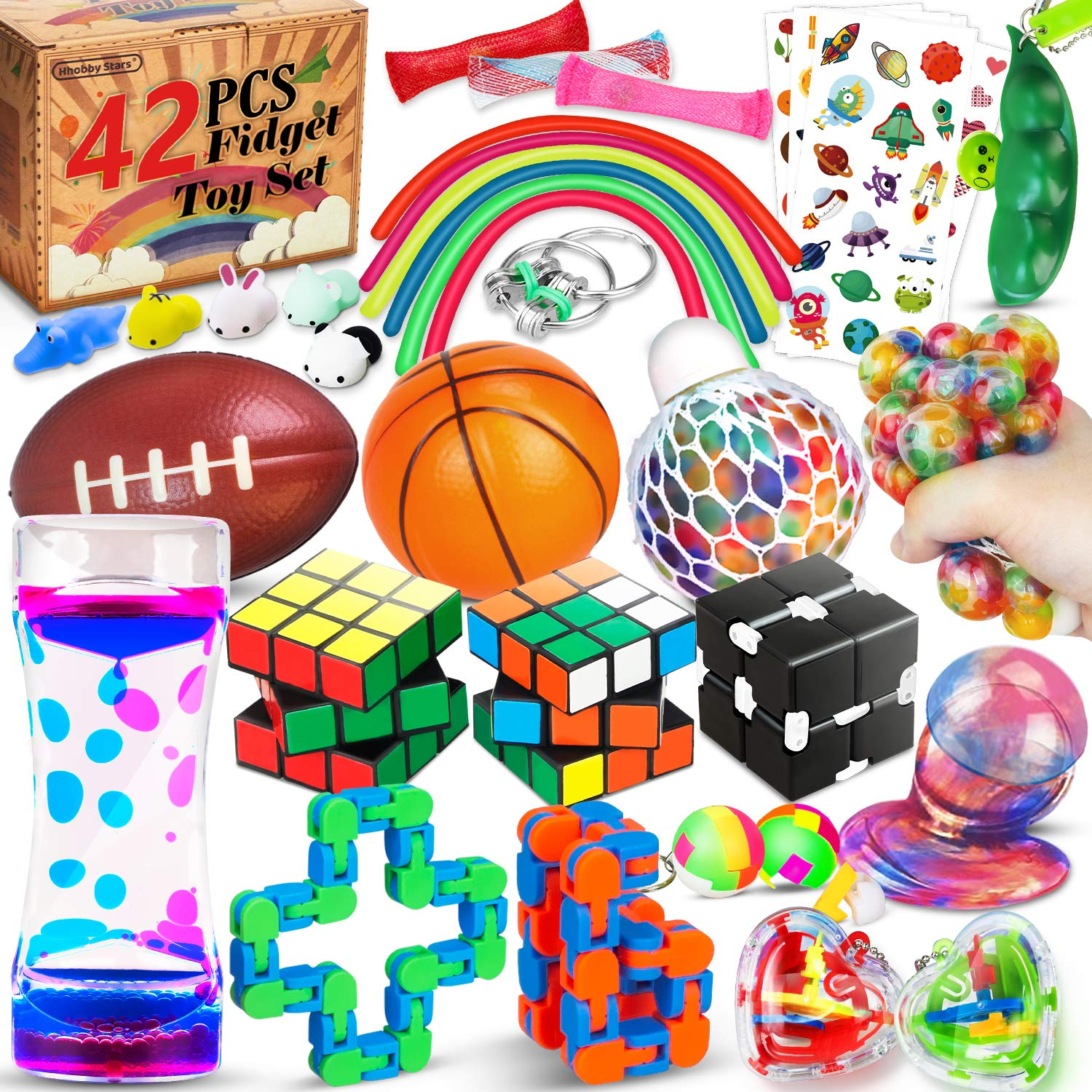 42 Pcs Sensory Fidget Toys Pack, Stress Relief & Anxiety Relief Tools Bundle Figetget Toys Set for Kids Adults, Autistic ADHD Toys, Stress Balls Infinity Cube Marble Mesh Wacky Track Fidgets Box