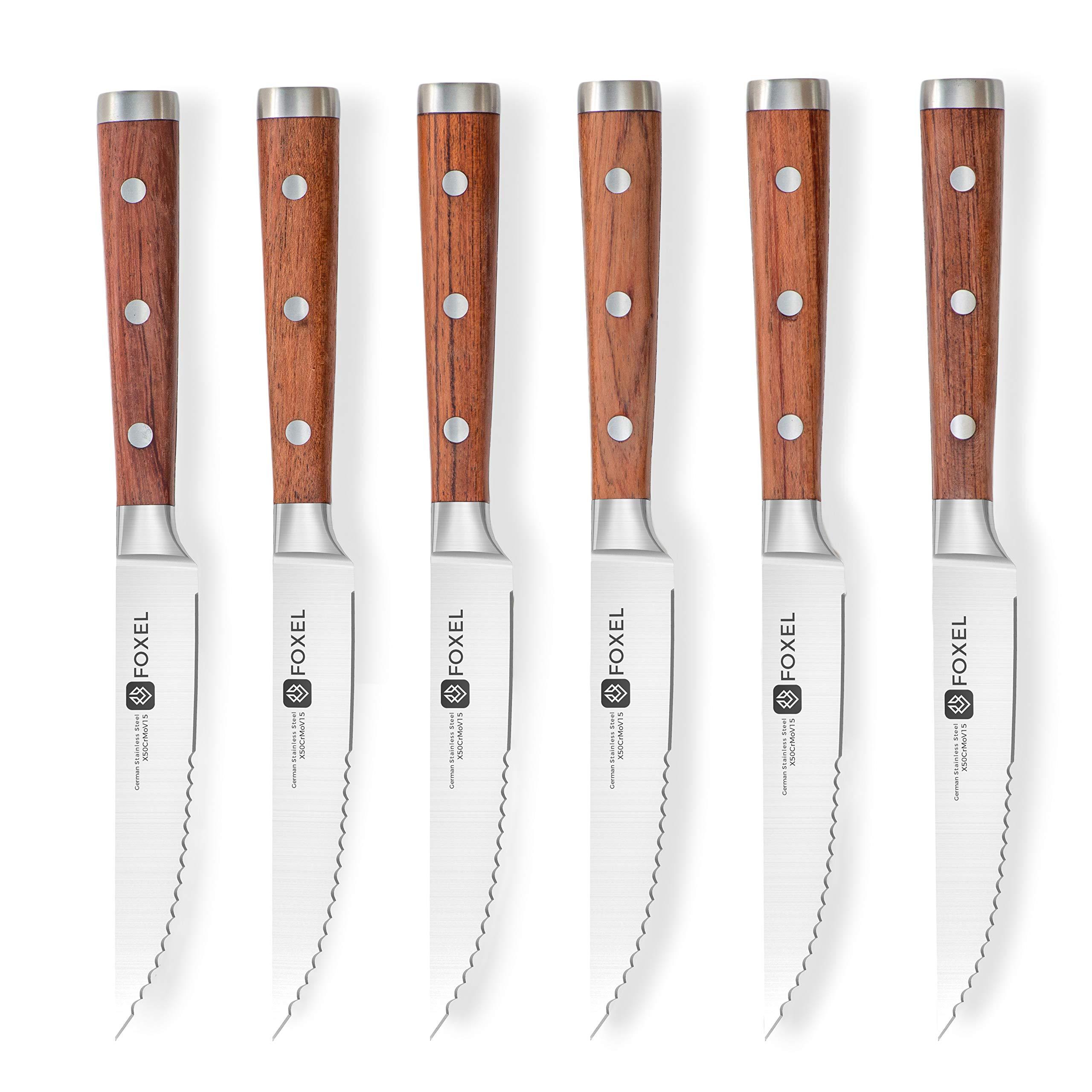 Steak Knives Set of 6 or 12 - Stainless Steel Serrated Steak Knife Set - German Steel Blade Natural Rosewood Full Tang Handle - Steak Knifes Gift Box Set - Not Dishwasher Safe by FOXEL