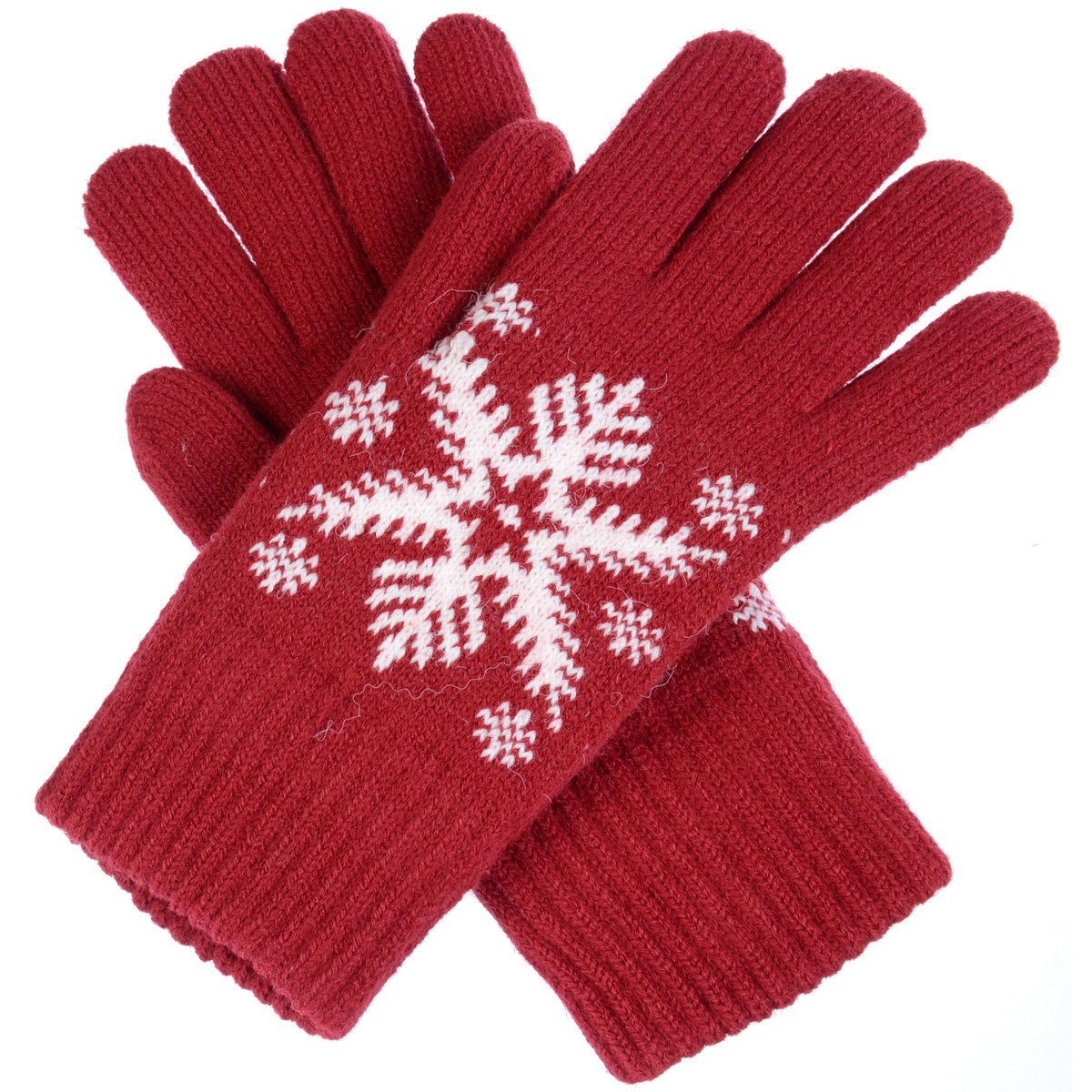 BYOS Womens Winter Ultra Warm Plush Fleece Lined Knit Gloves With Various Pattern Design (Red Snowflake) by Be Your Own Style (Image #2)