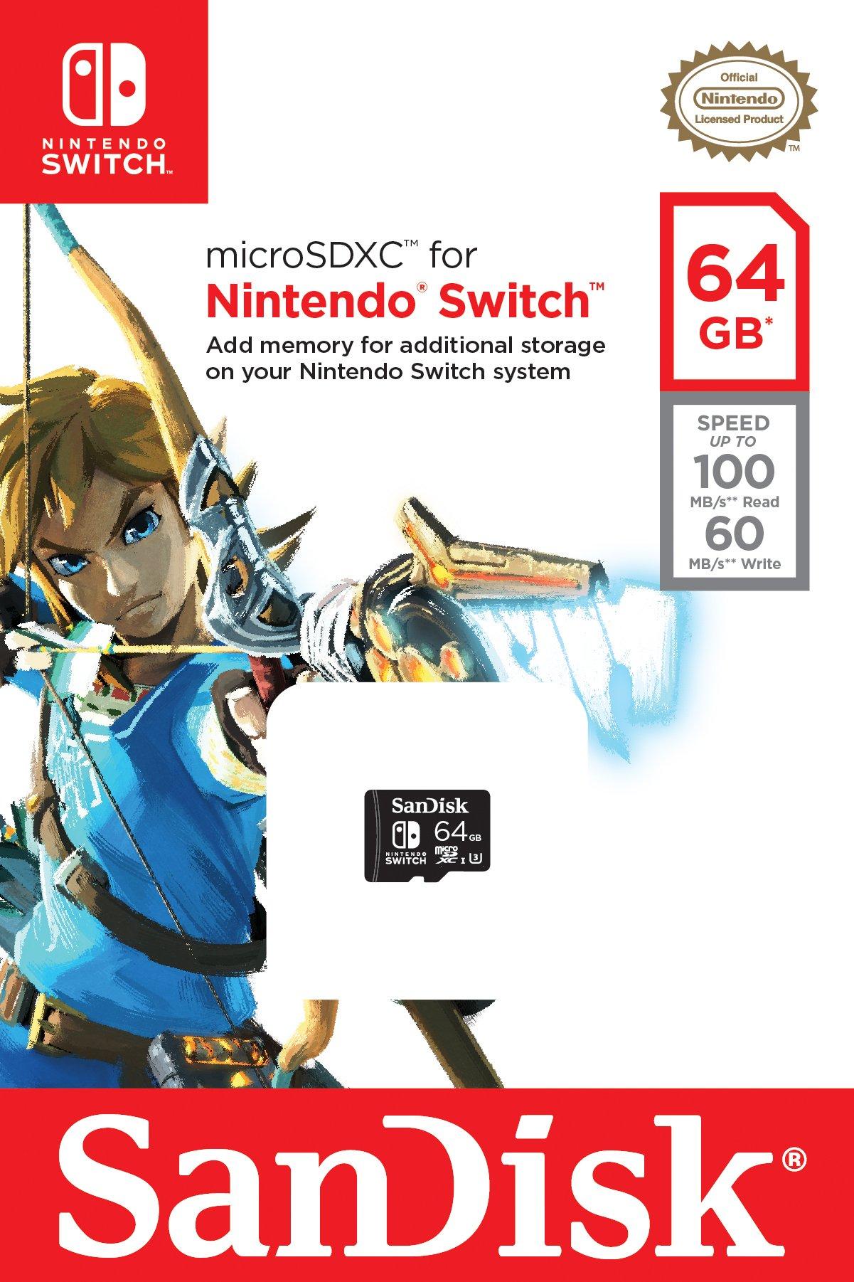 SanDisk 64GB microSDXC UHS-I card for Nintendo Switch -SDSQXAT-064G-GN6ZA