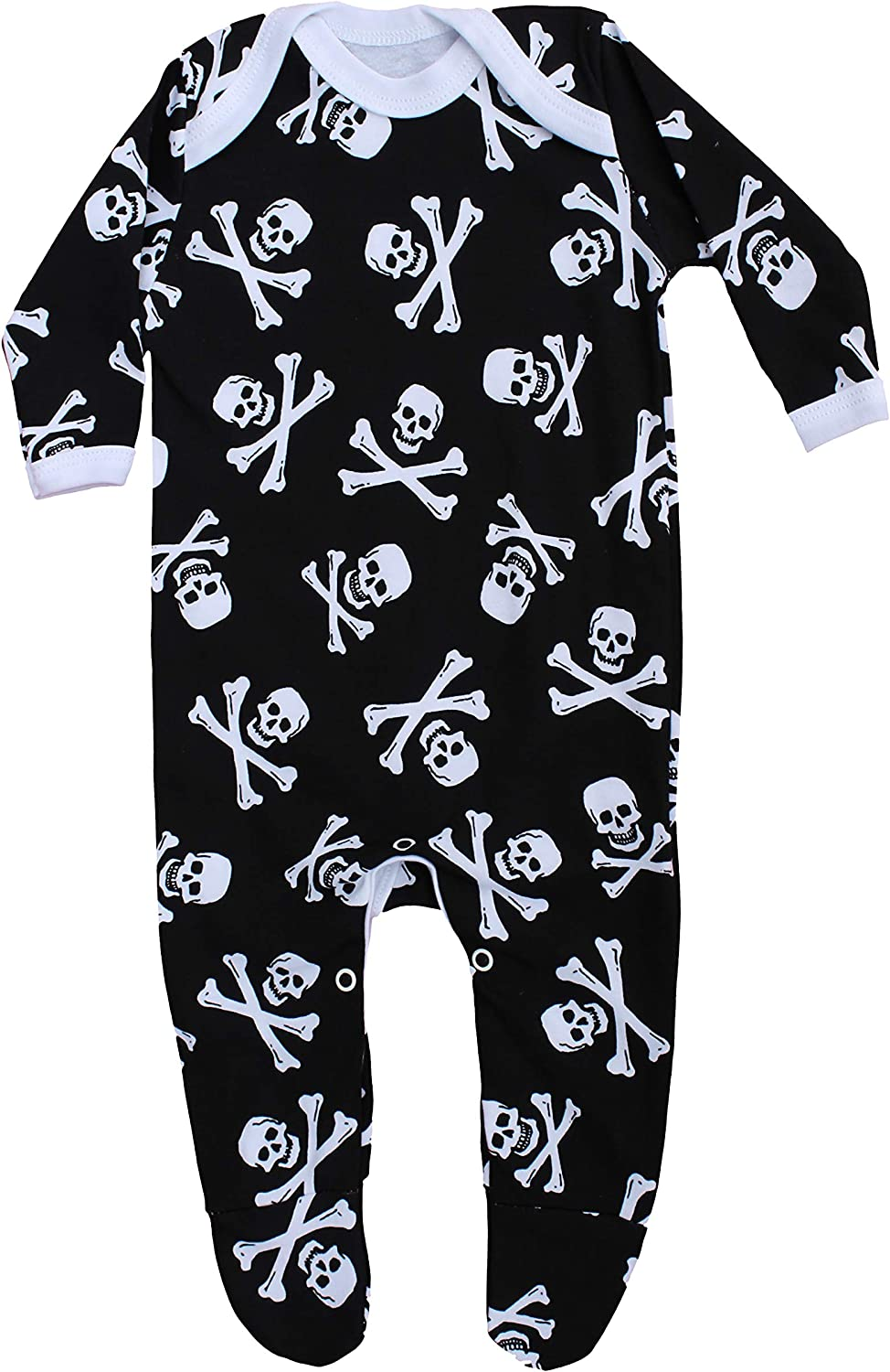 Alternative Baby Outfit Sleepsuit for Boys or Girls New Skull /& Crossbones Pirate Romper Jolly Roger Ideal Baby Shower or New Baby Gift Goth Baby Clothes BABY MOOS UK 6-12 Months