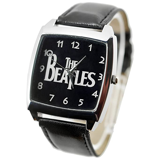 Amazon.com: TAPORT The Beatles Quartz Square Watch Real Leather Band Bw Text Dial+ Spare Battery + Gift Bag Black: Watches