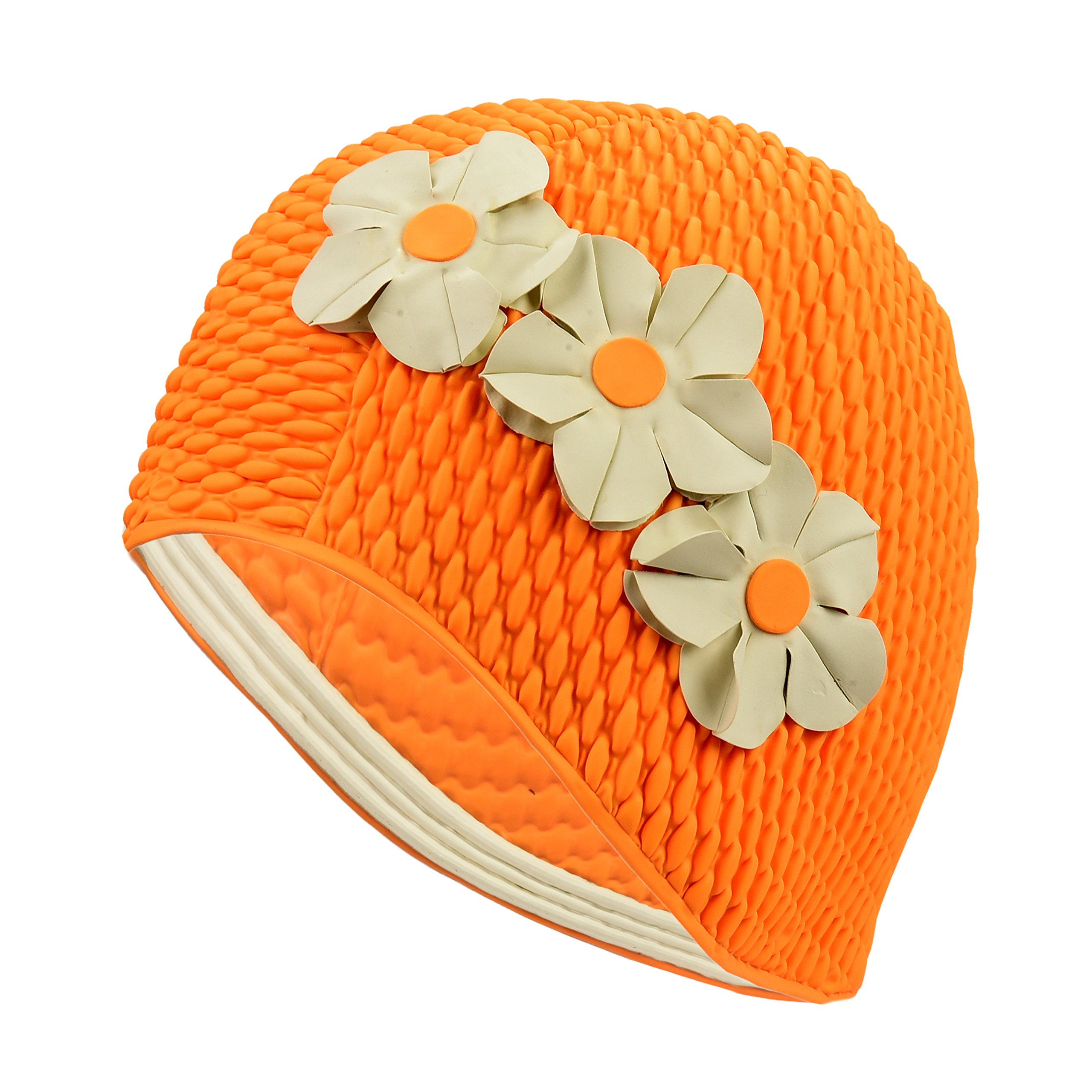 Latex Swim Cap - Women Stylish Swimming Cap Great for Ladies, Perfect to Keep Hair Dry - Suitable for Long Hair - Bubble Crepe with Orange with White Flowers