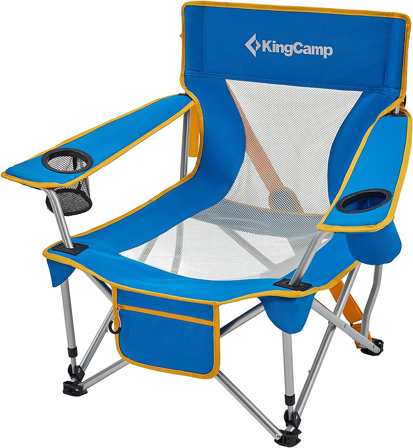 KingCamp Folding Camping Chair Low Seat Portable Light Weight Chair with Cup Holder & Front Pocket for Outdoor, Garden, Fishing, Beach, Travel, Picnic, Hiking