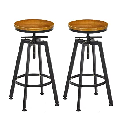 Incredible Vilavita Set Of 2 Bar Stools 26 Inch To 32 Inch Adjustable Height Swivel Counter Height Bar Stool Retro Finish Industrial Style Wood Barstools Gmtry Best Dining Table And Chair Ideas Images Gmtryco