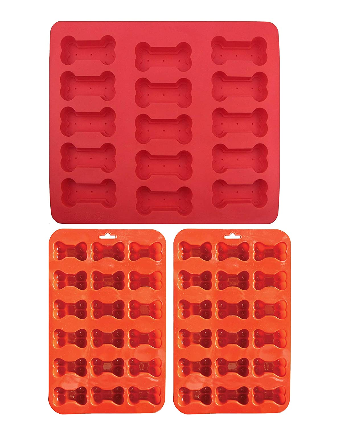 3 Pack Combo Silicone Molds Trays with 2 X Mini Bone molds and 1 X Large Bone Shape mold, Homemade Dog Treats, Baking Chocolate Candy, Oven Microwave Freezer Safe