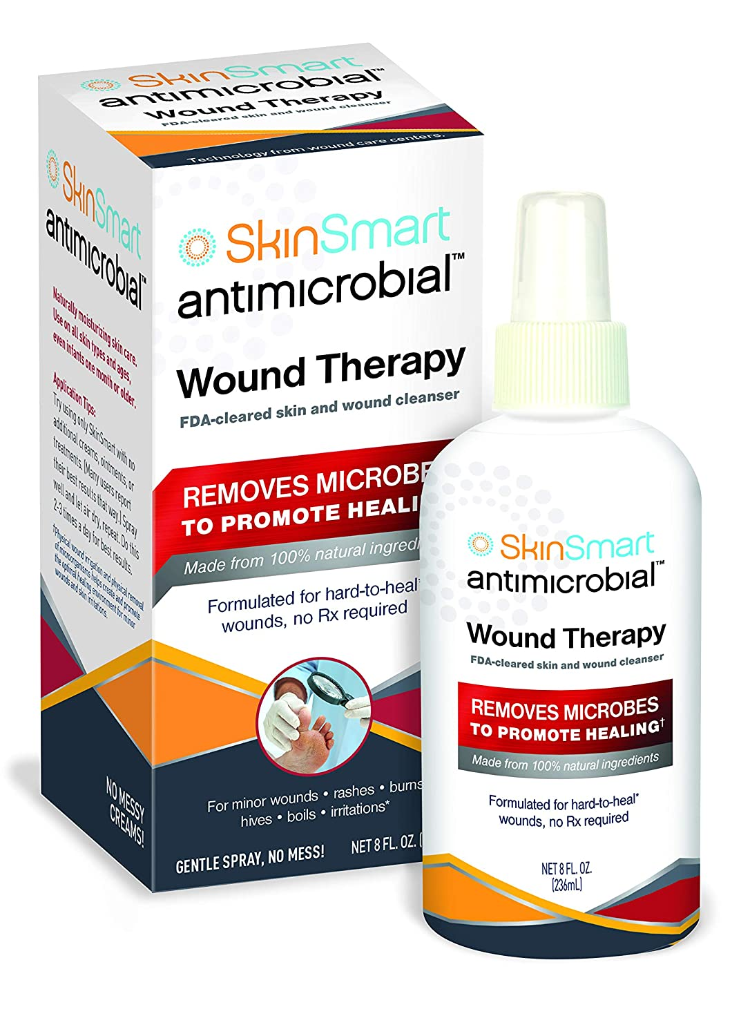 SkinSmart Wound Therapy Safely Removes Bacteria so Wounds Can Heal, 8 Ounce Clear Spray