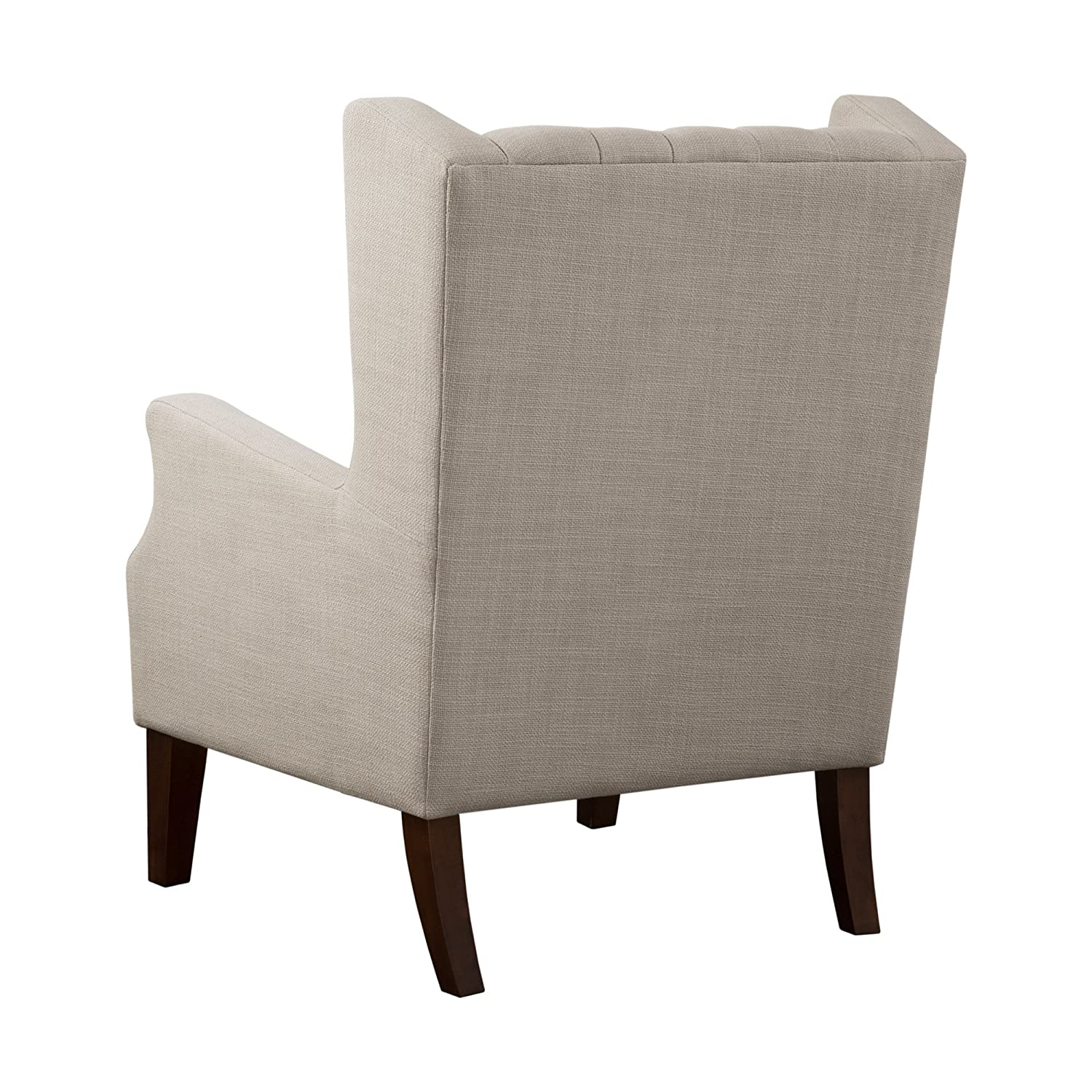 Madison park maxwell accent chairs hardwood faux linen living room chairs khaki classic elegant style living room sofa furniture 1 piece button