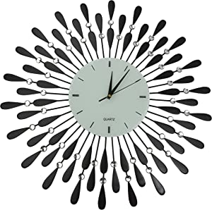 """Lulu Decor, Black Drop Metal Wall Clock 24"""", White Glass Dial with Lines 9"""", Decorative Clock for Living Room, Bedroom, Office Space"""