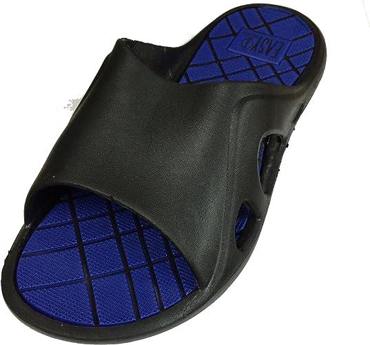 9 D M US, S-Black Gear One Mens Rubber Sandal Comfortable Shower Beach Shoe Slip On Flip Flop