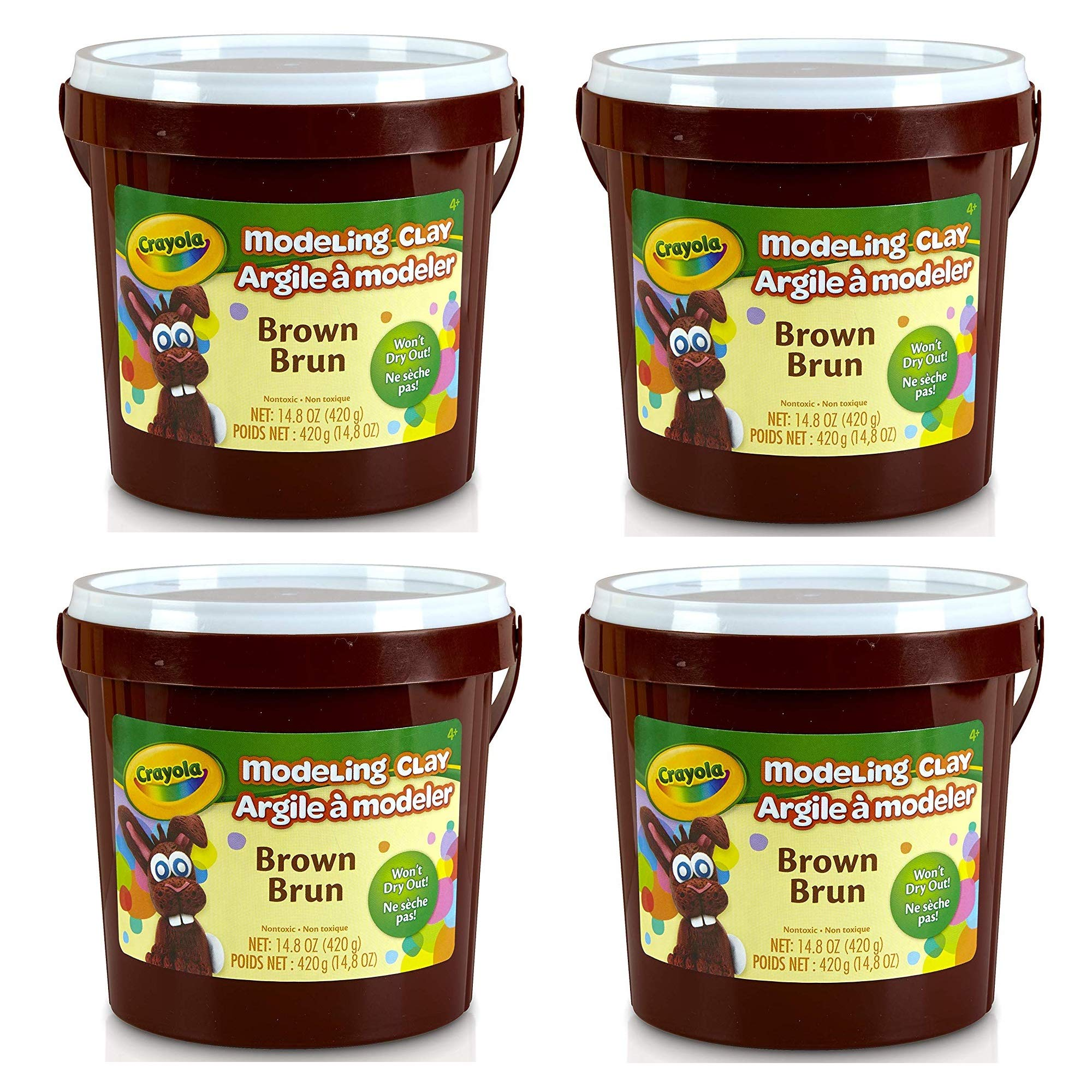 Crayola Modeling Clay, Brown, 14.8 Ounce Resealable Bucket Non-Toxic Art Tool for Kids 4 & Up, Traditional Modeling Clay for Art Projects, Great for Sculpting, Soft Pliable Clay Won't Dry Out, 4 Pack