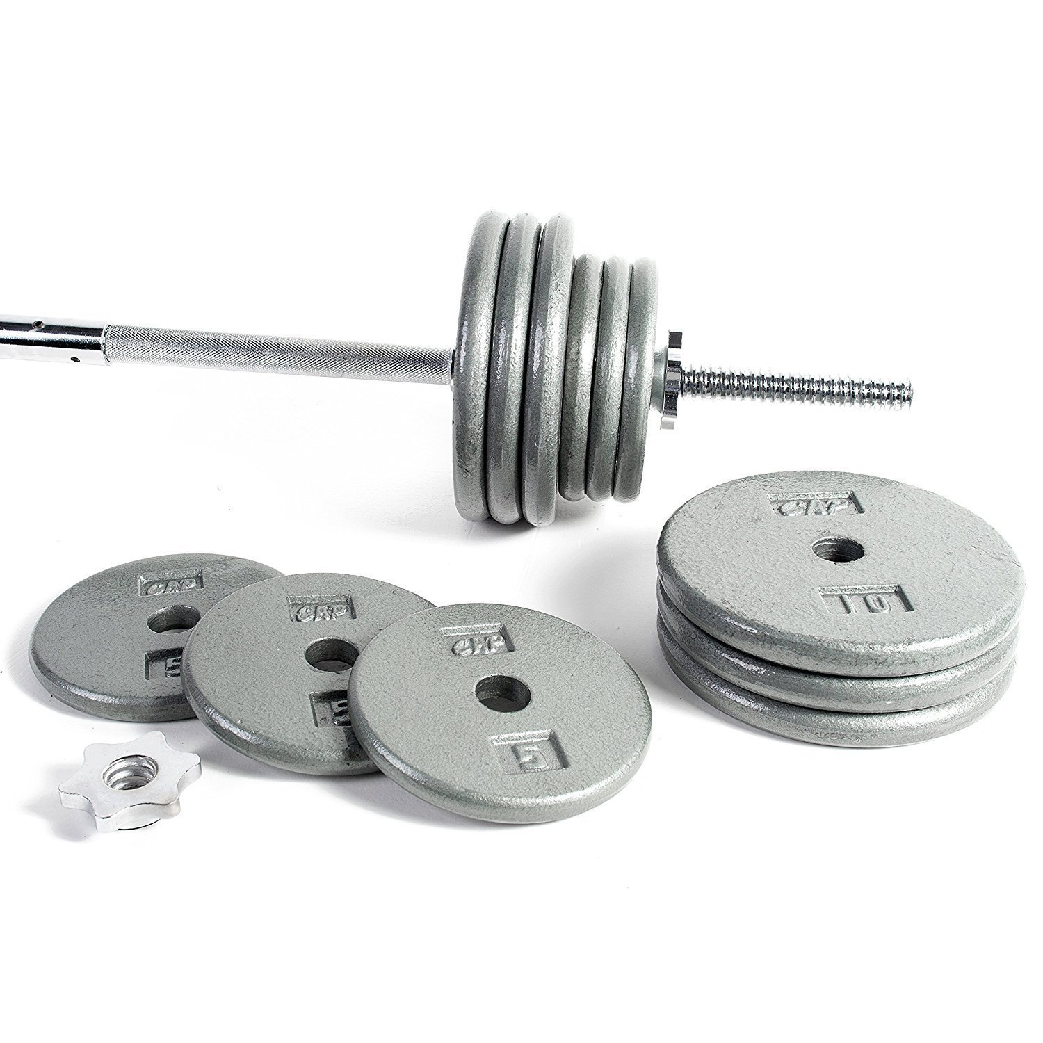 .CAP Barbell Standard 1-Inch Barbell Weight Set, 150 lb