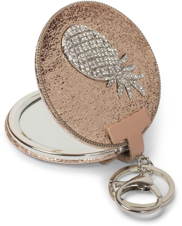 styleBREAKER runder Taschenspiegel mit Strass Ananas und Kette, 1X / 3X Vergrößerung, Kompaktspiegel, klappbar, 2 Seiten 05070003, Farbe:Rosegold metallic