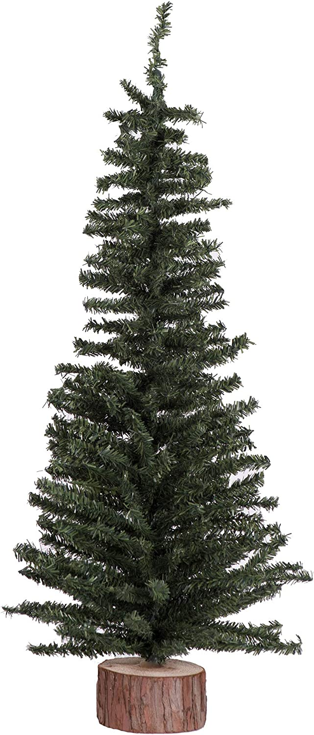 Vickerman Mini Pine Tree with Wood Base Green Tabletop Tree, 24-Inch