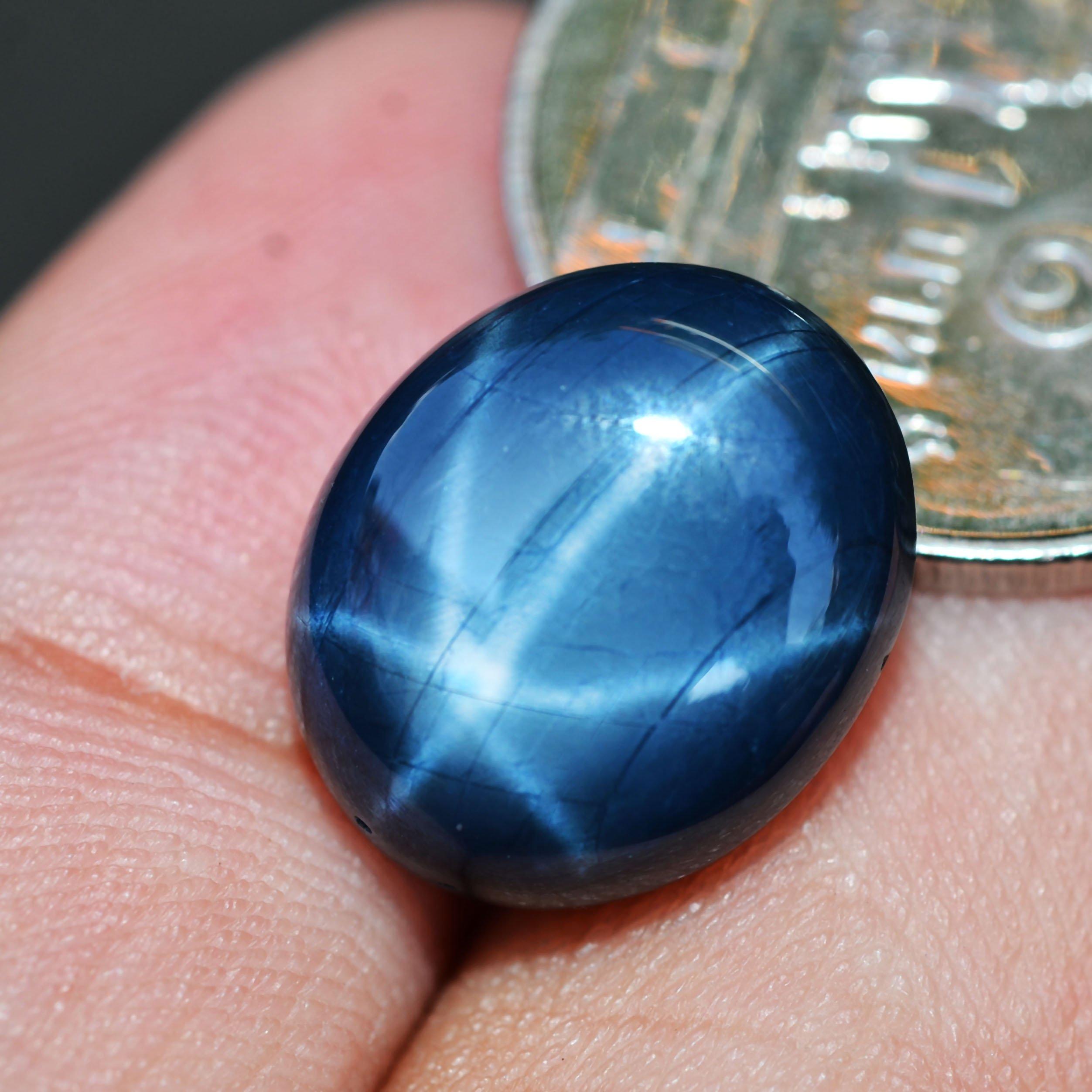 10.57ct Natural Cabochon Blue Stars Sapphire 6 Ray Thailand #B by Lovemom (Image #2)