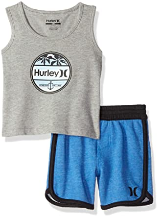 85fa18a1d Hurley Baby Boys 2 Piece French Terry Short Set, Fountain Blue Heather 18M